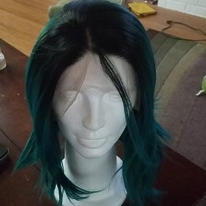 Evahair green/black Bob lace front synthetic wig
